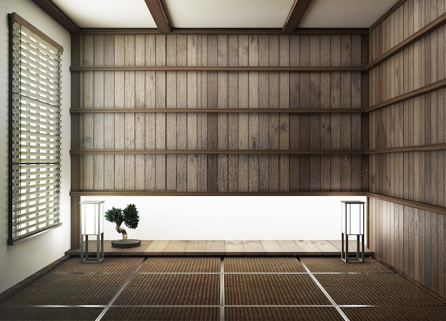 Interior design,modern living room with tatami mat floor and wood wall japanese style