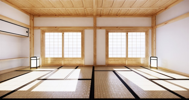 Interior design,modern living room with tatami mat and traditional japanese door on best window view. 3d rendering