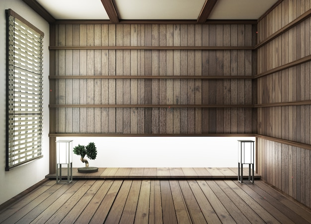 Interior design,modern living room with wood floor and wood wall japanese style