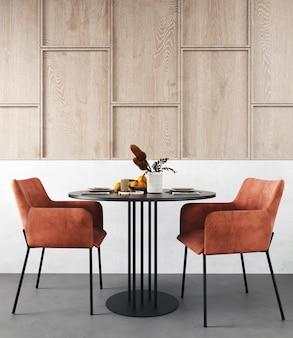 Interior design of modern scandinavian dining room, 3d render