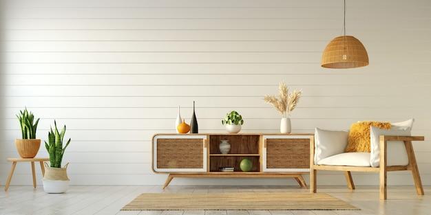 밝은 아파트의 인테리어 디자인, 찬장과 안락 의자가있는 거실 및 기타 장식 요소, 3d 렌더링
