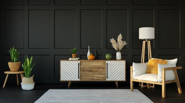 어두운 아파트, 찬장 및 어두운 벽에 안락 의자가있는 거실, 3d 렌더링의 인테리어 디자인