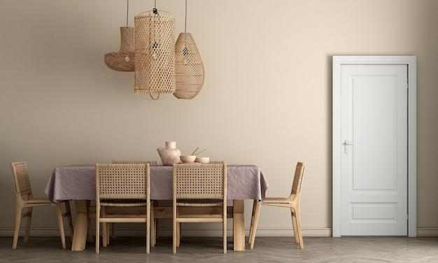 세련된 모듈러 베이지 색 의자와 베이지 색 벽, 나무 바닥, 중립 방 칸막이 현대 가정 장식, 3d 렌더링이있는 식당의 인테리어 디자인