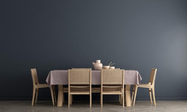 세련된 모듈러 베이지 색 의자와 파란색 벽, 나무 바닥, 식물, 중립 방 칸막이 현대 가정 장식, 3d 렌더링이있는 식당의 인테리어 디자인