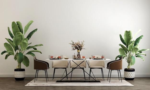 세련된 모듈러 베이지 색 의자와 흰 벽, 나무 바닥, 식물, 중립 방 칸막이 현대 가정 장식, 3d 렌더링이있는 식당의 인테리어 디자인