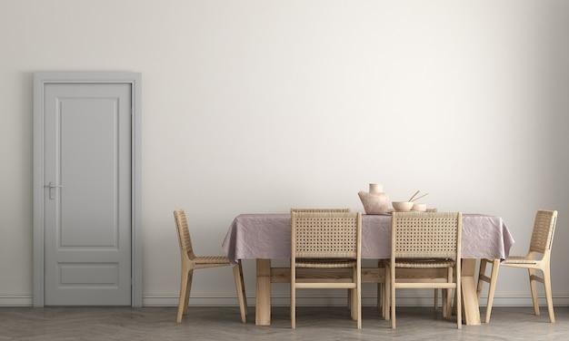 세련된 모듈러 베이지 색 의자, 나무 바닥, 식물, 중립 방 칸막이 현대 가정 장식, 3d 렌더링이있는 식당의 인테리어 디자인