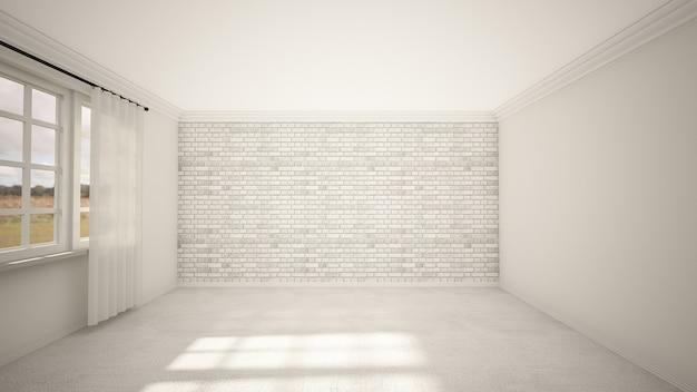 空の部屋とリビングルームのインテリアデザイン、窓と敷石の床のモダンなスタイル。
