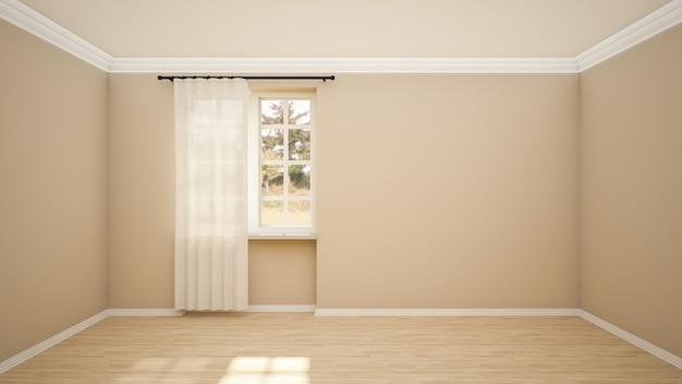 Дизайн интерьера пустой комнаты и гостиной в современном стиле с окном и деревянным полом.