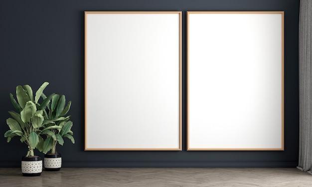 빈 방 andcanvas 프레임 벽, 나무 바닥, 식물, 중립 방 칸막이 3d 렌더링의 인테리어 디자인