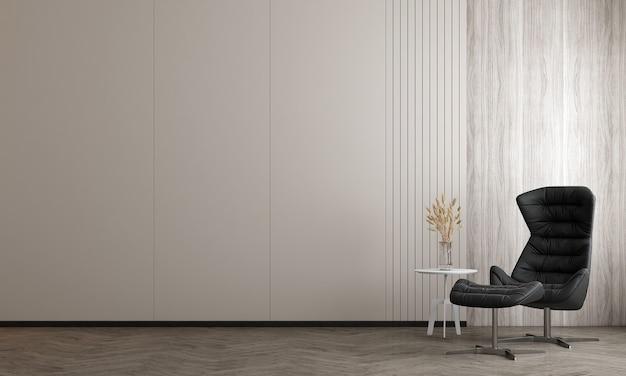 スタイリッシュなモジュラーブラックアームチェア、木製の床、植物、ニュートラルな部屋の仕切り、装飾とエレガントなアクセサリー、家の装飾、木製の壁、3dレンダリングを備えたリビングルームのインテリアデザイン