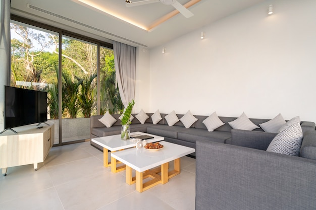 Дизайн интерьера виллы с бассейном, дома, дома, квартиры и квартиры с диваном и подушкой в гостиной