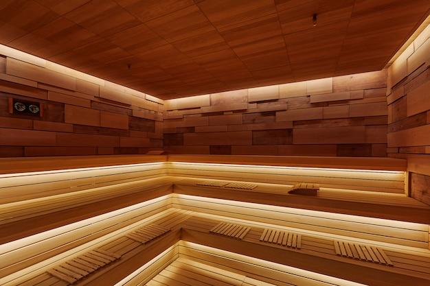 Дизайн интерьера деревянной бани с сиденьями, с подсветкой, спа