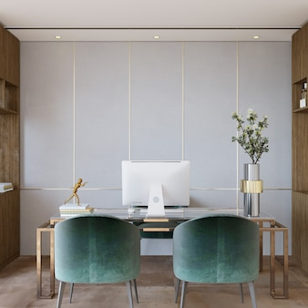 사무실에서 의자와 테이블이있는 인테리어 디자인