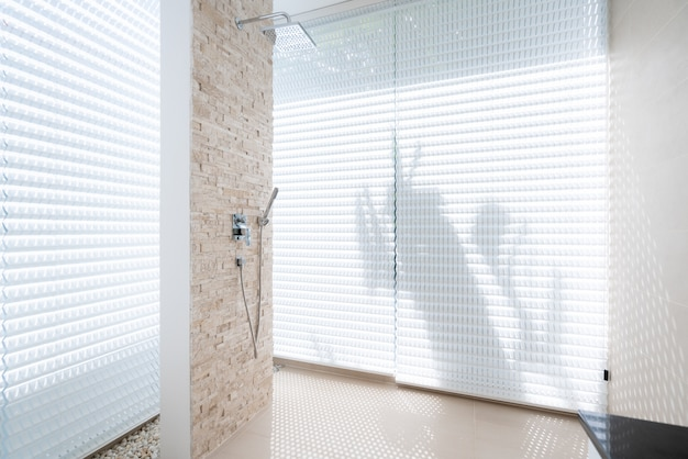 Interior design with shower in the bedroom