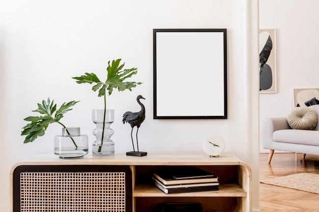 リビングルームスペースにスタイリッシュなサイドボードを備えたインテリアデザイン壁に絵をモックアップテンプレート