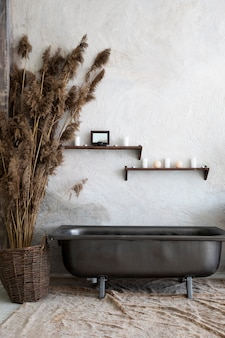 Interior design with vintage bathtub