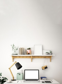 Interior design for working area in scandinavian style