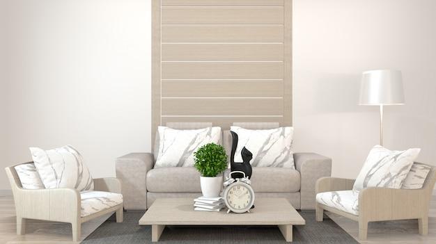 Interior design zen living room with low table, pillow, frame, lamp on wood floor.3d rendering