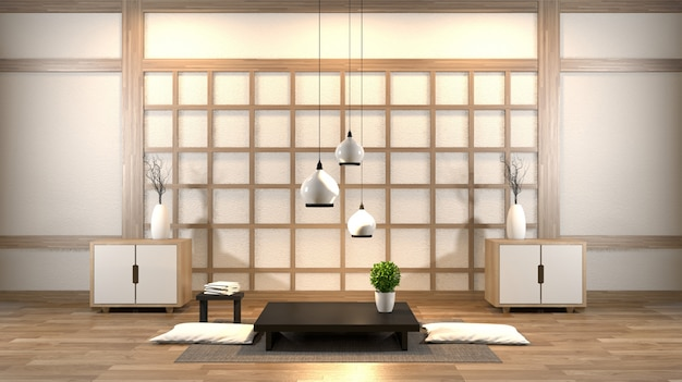 Interior design zen living room with low table, pillow, frame, lamp on wood floor