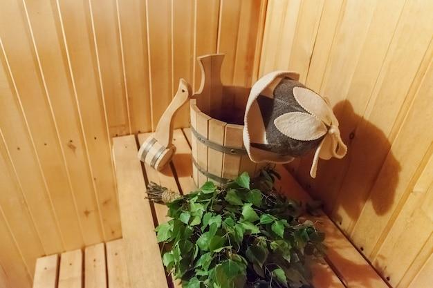 인테리어 사우나 전통 사우나 액세서리 분지 자작 나무 빗자루 특종 펠트 모자와 사우나 사우나 스팀 룸 목욕탕