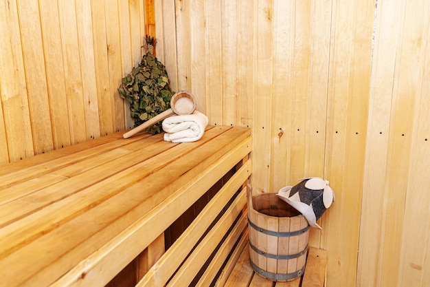 Interior details finnish sauna steam room with traditional sauna accessories