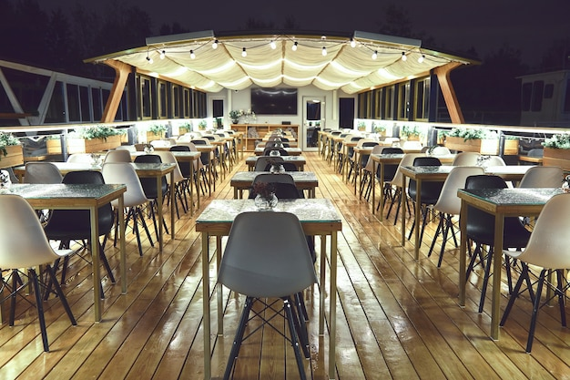 Interior details of restaurant on the ship. concept of interior design of a restaurant on a ship