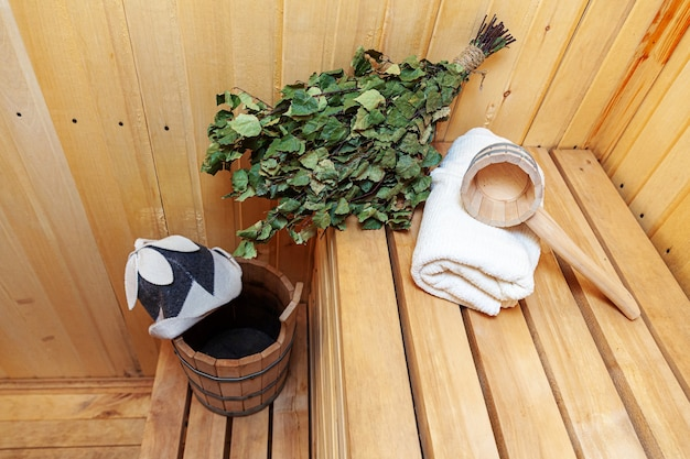 Interior details traditional old russian bathhouse finnish sauna spa and  accessories