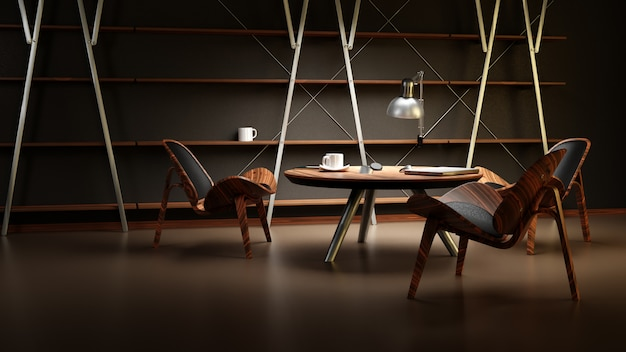 The interior of the dimly lit room with three chairs and a table is made in a modern business style