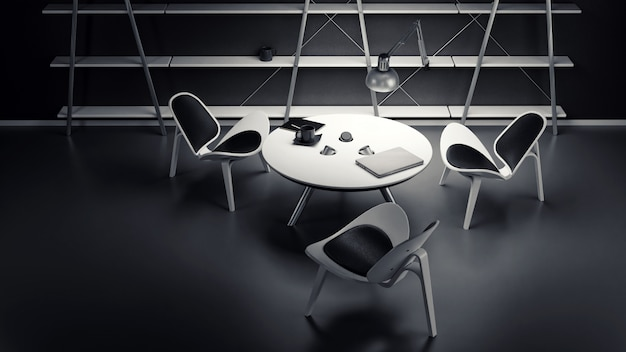 The interior of the dimly lit room with three chairs and a table is made in a modern business style.