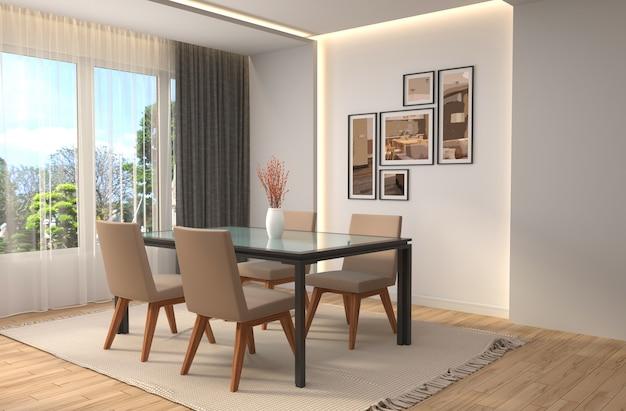 Interior dining area rendered illustration