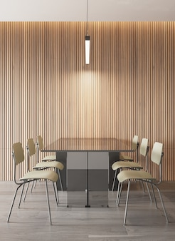 Interior of dining room modern style with wooden panel pattern