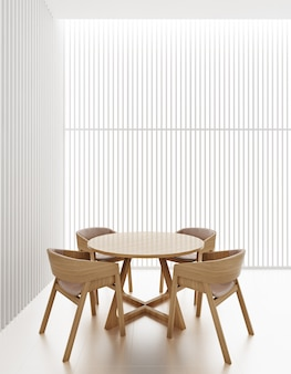 Interior of dining room in white tone decorate by white vertical wood panel