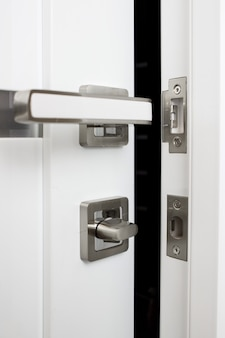 Interior door modern handle and security lock.