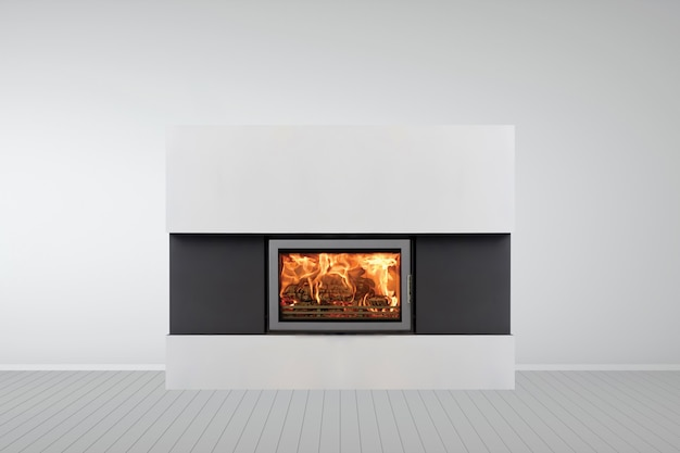 Interior of empty classic white room with modern fireplace.