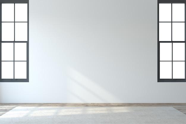 내부. 흰 벽과 두 개의 창문이있는 빈 현대적인 객실입니다. 3d 렌더링.