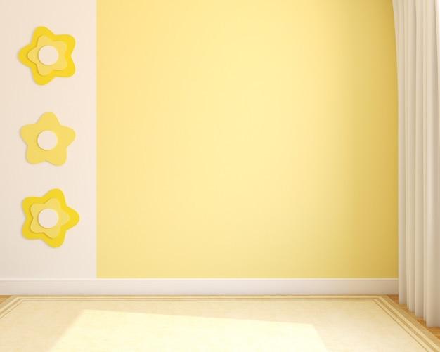 Interior. empty nursery. 3d render.