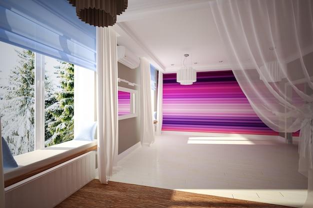 현대적인 스타일의 인테리어 빈 방. 인테리어 디자인