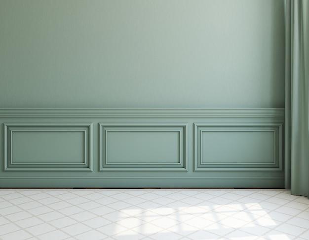 내부. dack 벽과 가벼운 깔개가있는 빈 방. 3d 렌더링.