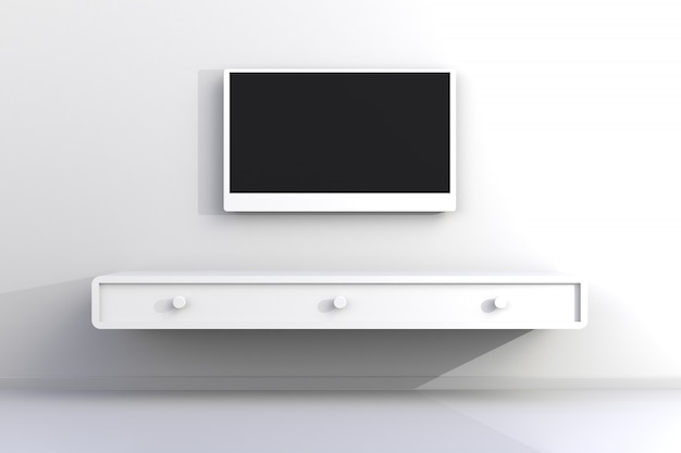 Interior of empty room with tv