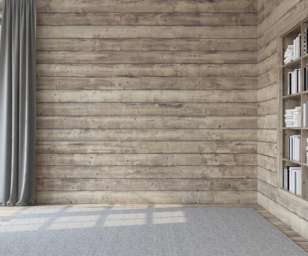 내부. 나무 벽과 빈 방입니다. 3d 렌더링.