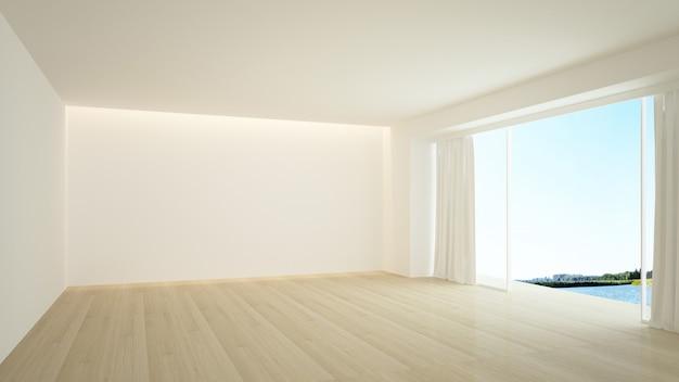 The interior empty wall in condominium 3d rendering