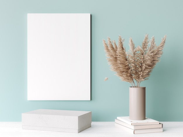 Внутренняя рамка с вертикальным белым деревянным полотном на зеленой стене