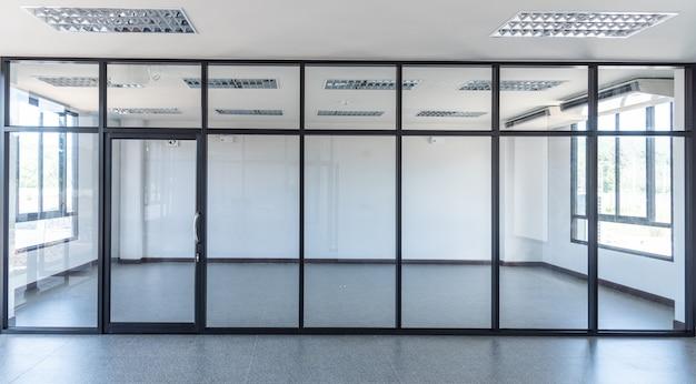 Interior glass door in building