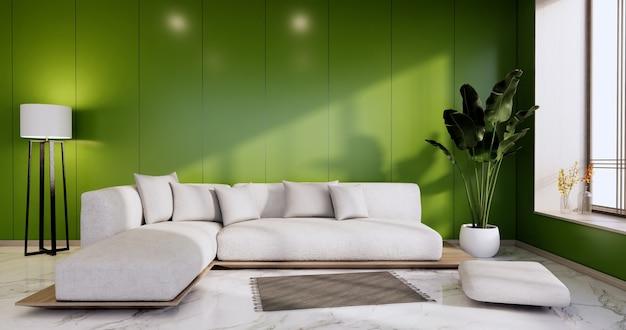 Интерьер, зеленая гостиная в современном минималистском стиле с диваном на белой стене и полом из гранитной плитки. 3d визуализация