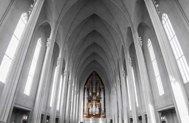 Interior of hallgrã­mskirkja church in reykjavik, iceland
