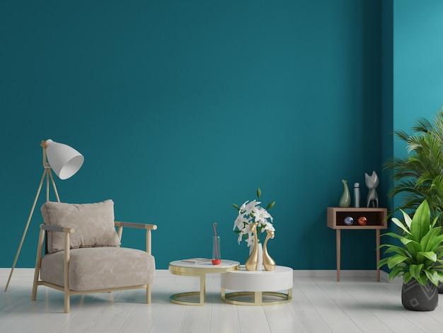 Interior has a armchair on empty dark green wall background.