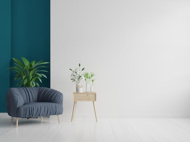 内部有空的白色墙壁背景的扶手椅子。