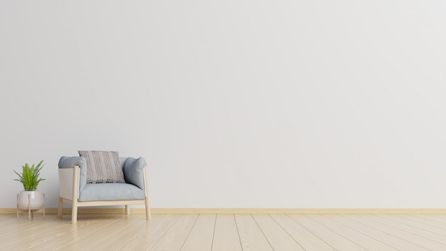 The interior has a armchair on empty white wall background