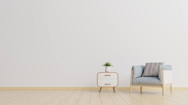 The interior has a armchair on empty white wall background.