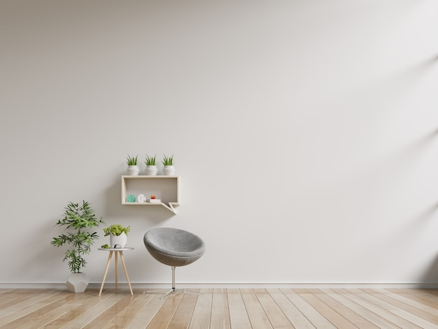 The interior has a armchair on empty white wall.